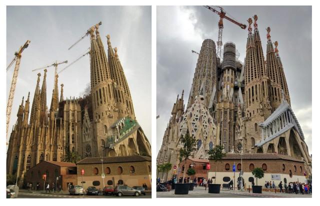 Pildistasin kirikut 2006 aastal sama nurga alt. 12 aastaga on mõndagi muutunud. Nad plaanivad valmis saada 2026, kui on Gaudi 100 surmaaastapäev. Eks näis kas see õnnestub ja milline on vaade valminuna.